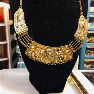 Cleopatra inspired gold tone necklace